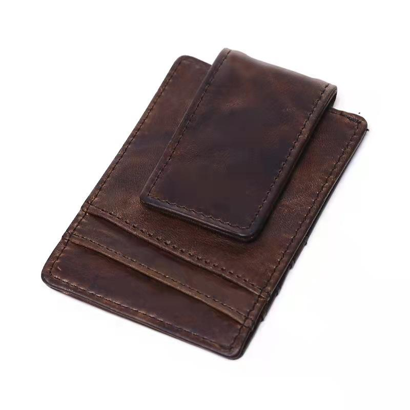Genuine Leather Men's Multi-card Wallet Purse Mini Small Credit Card Holder Snap Cover Slim Money Card Clip