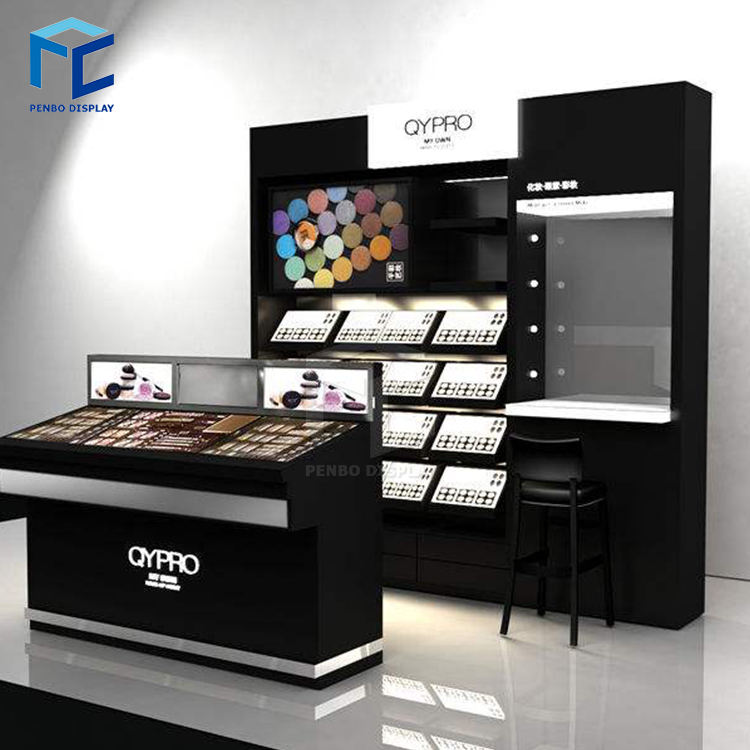 Best product customized retail shop store shelf acrylic makeup cosmetic display stand with 3 tires drawers for cosmetic