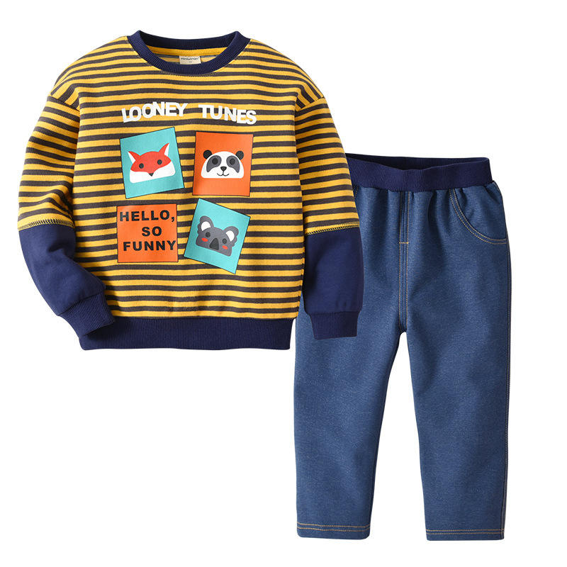 2019 European American autumn New children sets boys long-sleeved woven striped print cartoon two-piece wholesale