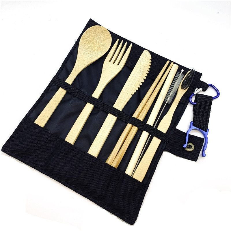 Bamboo Utensils travel Cutlery Set Eco-Friendly Wooden Outdoor Portable Utensils Zero waste bamboo cutlery set