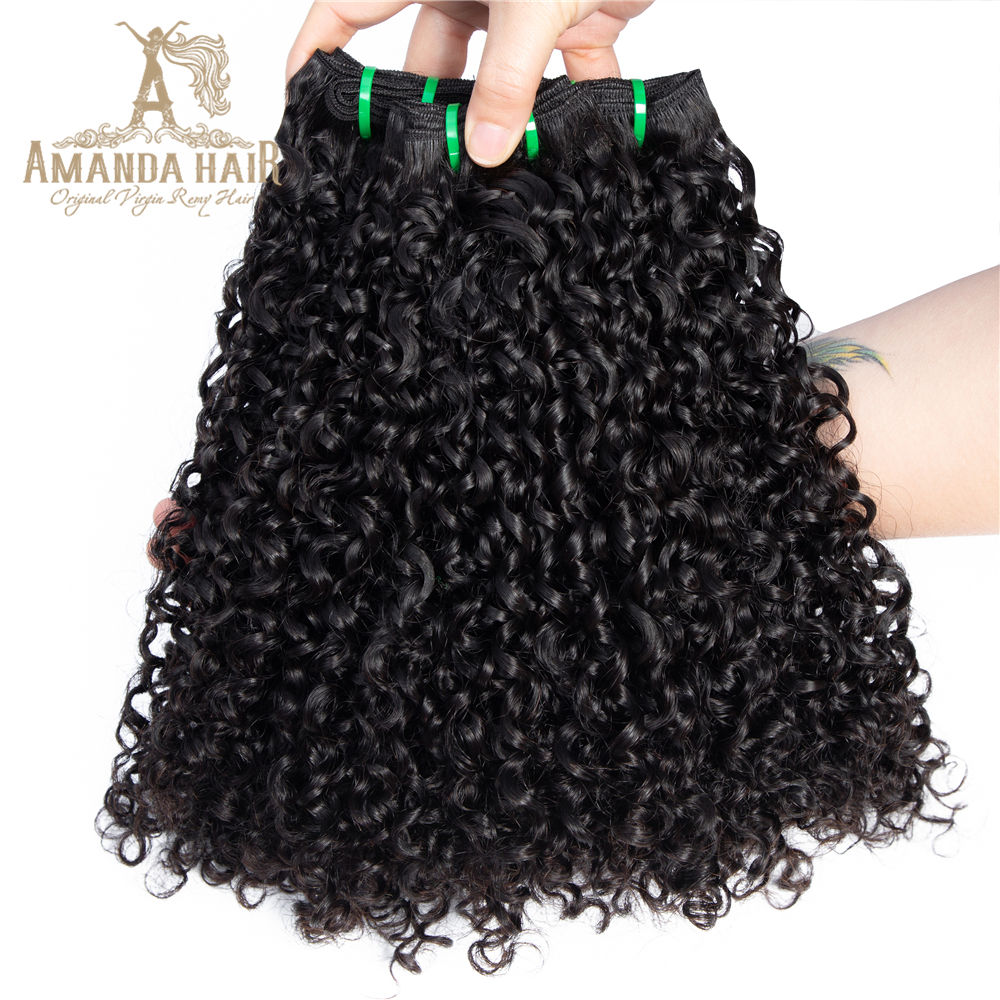 Amanda ผม 10A 11A 12A เกรด Virgin Brazilian Human Hair Cuticle Aligned Fumi Pixie Curl Super Double Drawn ผม