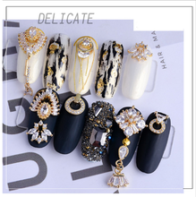 3D Nail Sticker Luxury Metal Chic Nail Art Charm Clear Alloy Zircon Decoration DIY Art Decoration Wedding Finger Jewelry