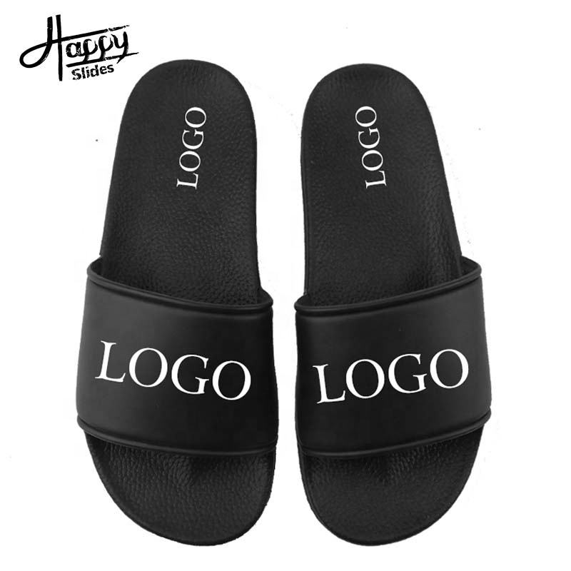OEM Custom Black Slides Footwear Sandal PVC,Custom Logo Slippers Men Plain Blank Slide Sandal,Slippers Custom Logo Slide Sandal