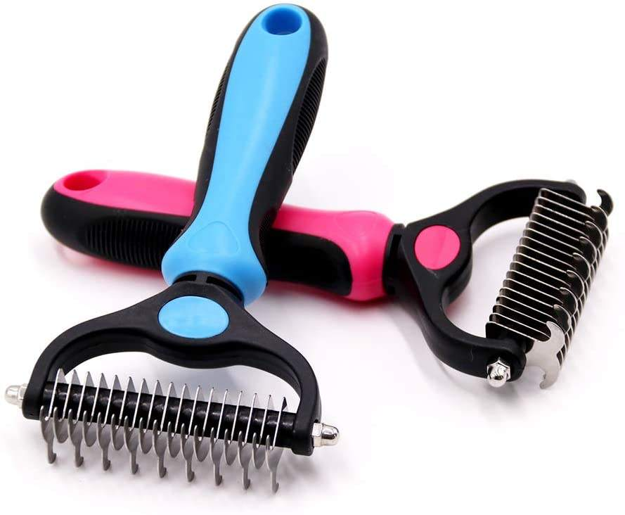 Double Sided Shedding Pet Grooming Tool Dog Dematting Comb Grooming Undercoat Rake