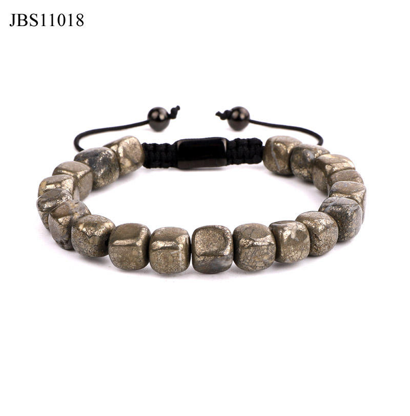 New design natural stone iron pyrite custom logo macrame bracelet for men