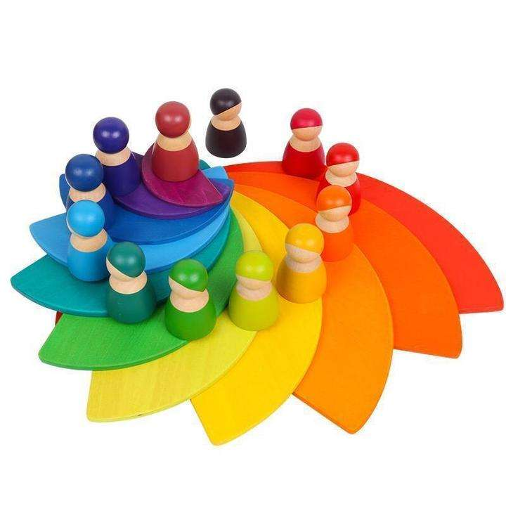 Rainbow Stacker Toys Large Wooden Rainbow Semi Circles Educational Wooden Blocks