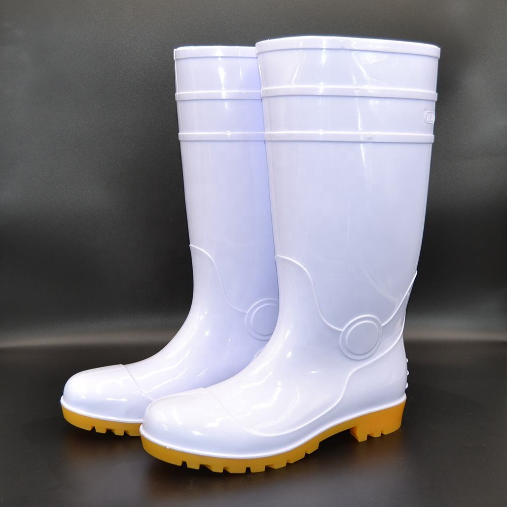 Food industry White fashion safety boots for foodstuffs PVC water resistant rain boot