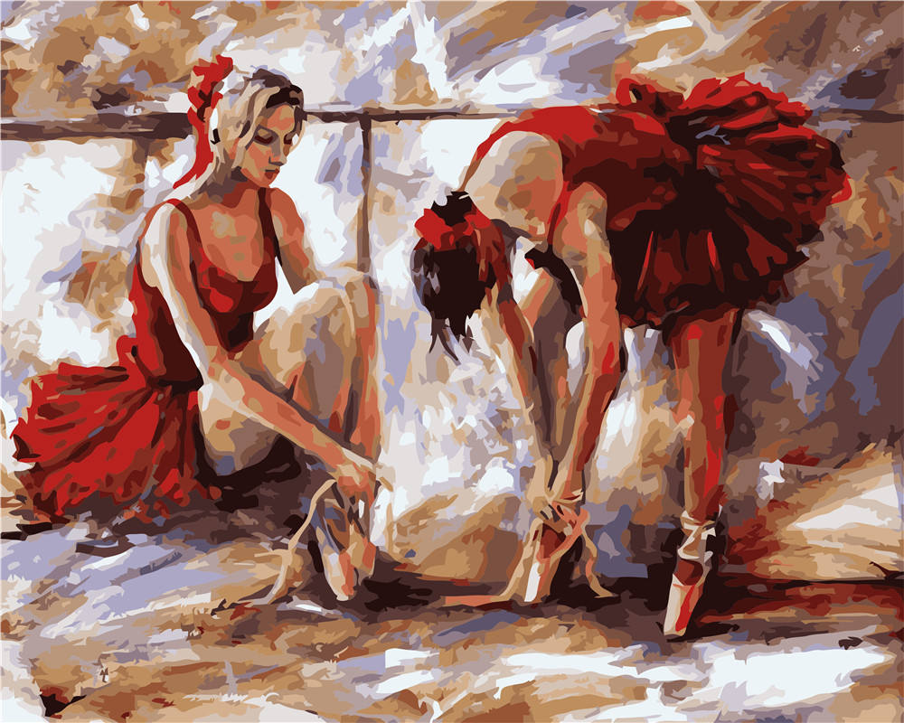 Paintido wholesale charater ballerina art elegant girls framed painting by numbers