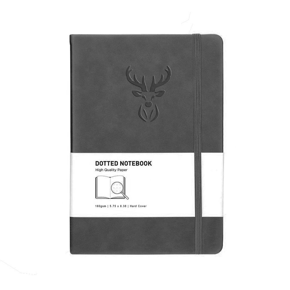 Custom In Bulk Cute Mini Genuin Leather Hard Cover Premium Thick Paper A5 Simple Deboss Soft Elastic Notebook Journal