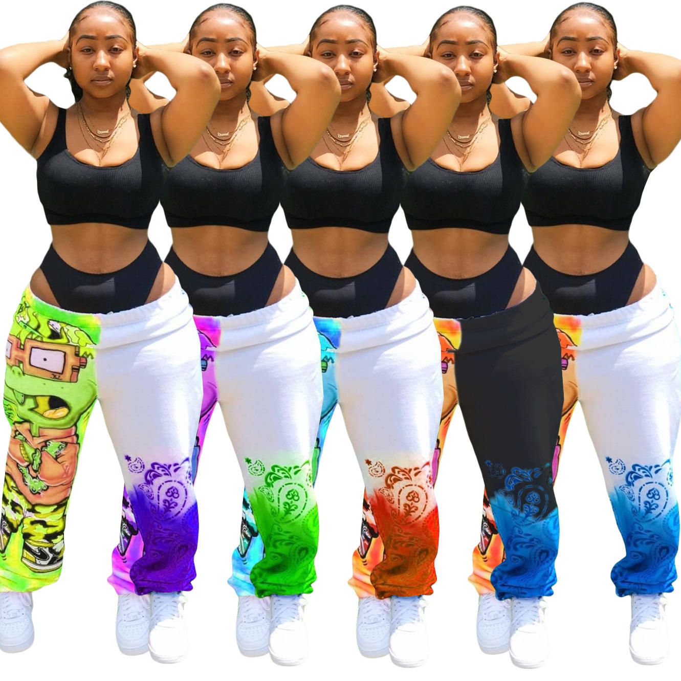 ALS191 European and American top models urban casual dress printed sport halon trousers