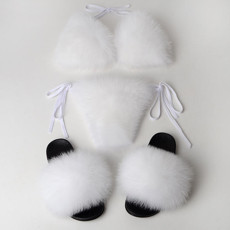 Natural fox fur slides bra sexy fur lined bra for girls Sexy Women Swimwear slippers Beachwear Bathing Suit Bikini shoes Set