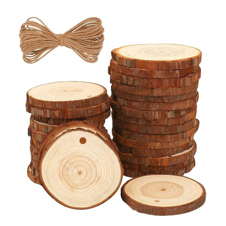 Christmas Ornaments decorative natural wooden circles pieces DIY unfinished kid craft wood slice