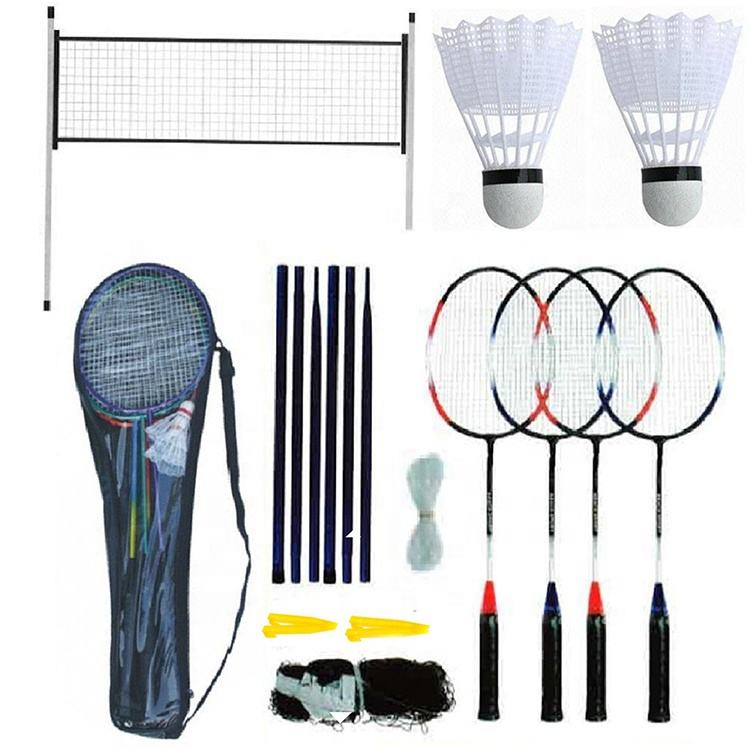 Badminton Set 4 Player Racket Shuttlecock Poles Net Bag