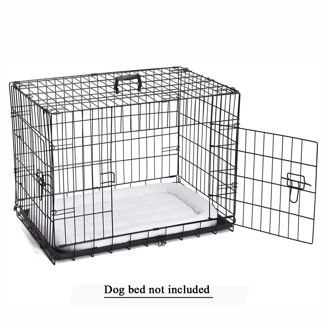 Double Door Folding Iron Metal Dog Crates Pet Cage Kennel Equipped With Detachable Handle