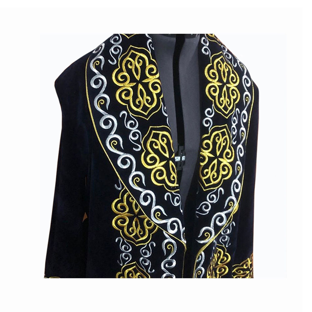 Winter Velvet Fabric Warm Clothing With Border Kazakh National Chapan for Men