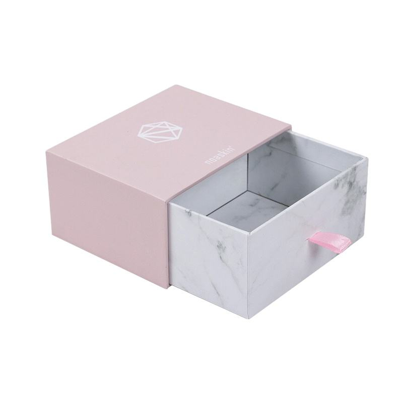 High Quality Custom Pink Marble Color Cardboard Drawer Box Small Size Gift Package