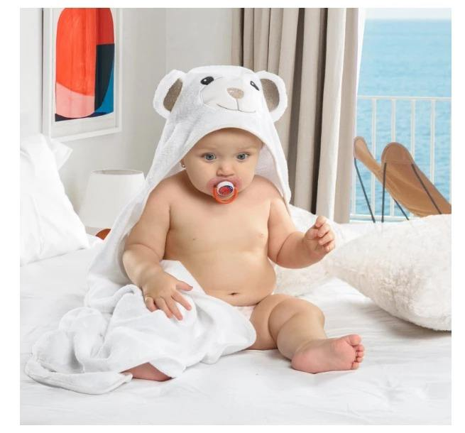 organic cotton animal head bear toddler hooded baby towel