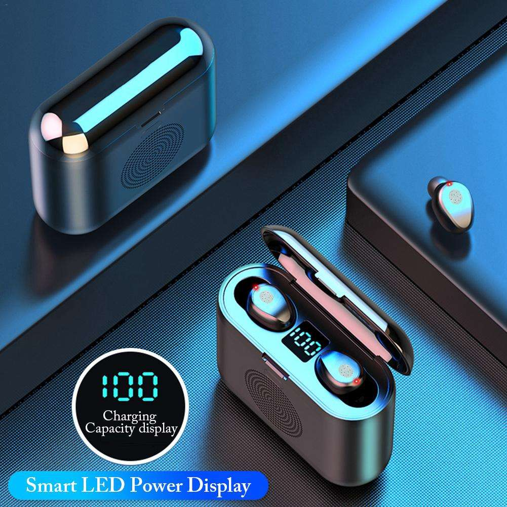 F9 Earbud Nirkabel Earphone 5.0, Earbud Parlantes Altavovideo F9 3 In 1 Speaker F9 Tws