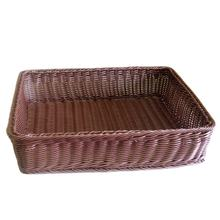 Wholesale Rectangle synthetic acrylic toy display case rattan wicker basket for bakery bread baguette