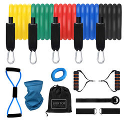 Gym Fitness Equipment Workout Exercise Indoor Muscle training 14 Pieces Resistance band set