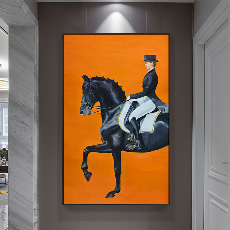 Modern porch decoration orange British style restaurant horse oil painting Nordic style horse wall art