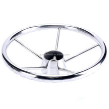 marine 5Spoke Destroyer Style Stainless Boat Steering Wheel