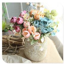 PE006 Home Decorative Flower Small Peonies Silk Artificial Peony Bouquet