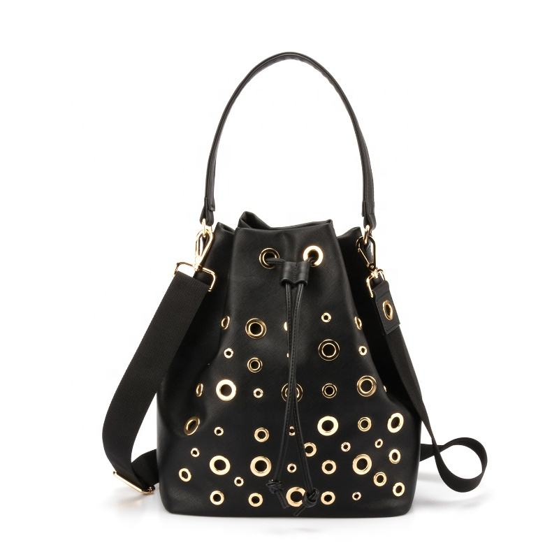 Customized Logo Fashion Ladies Bucket Bag drawstring sling bag for women