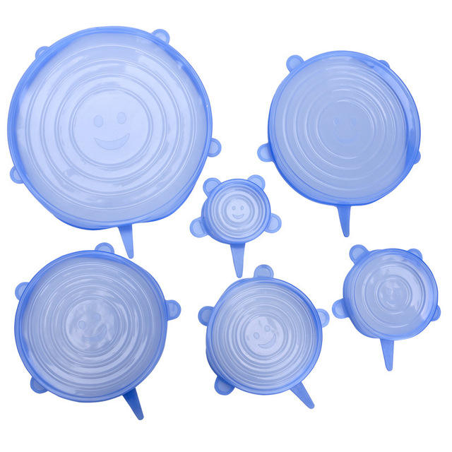 Blue Food grade silicone universal reusable seal cover silicone stretch lids pack of 6 for home use