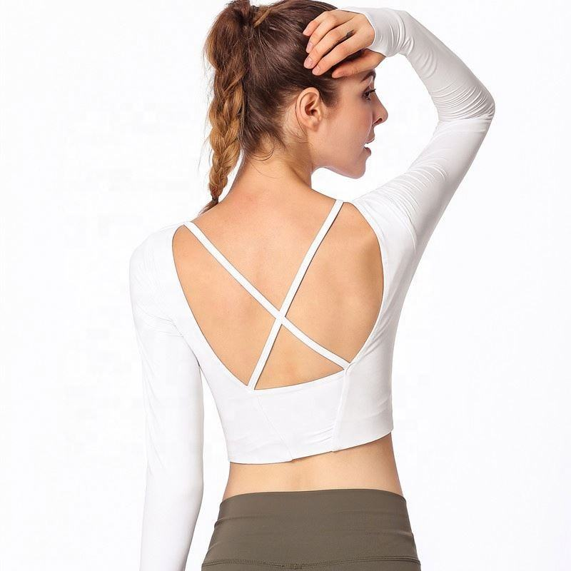 Latest New Gym Tights for Women Soft Yoga Long Sleeve Shirt Cross Back Yoga Tops with bra