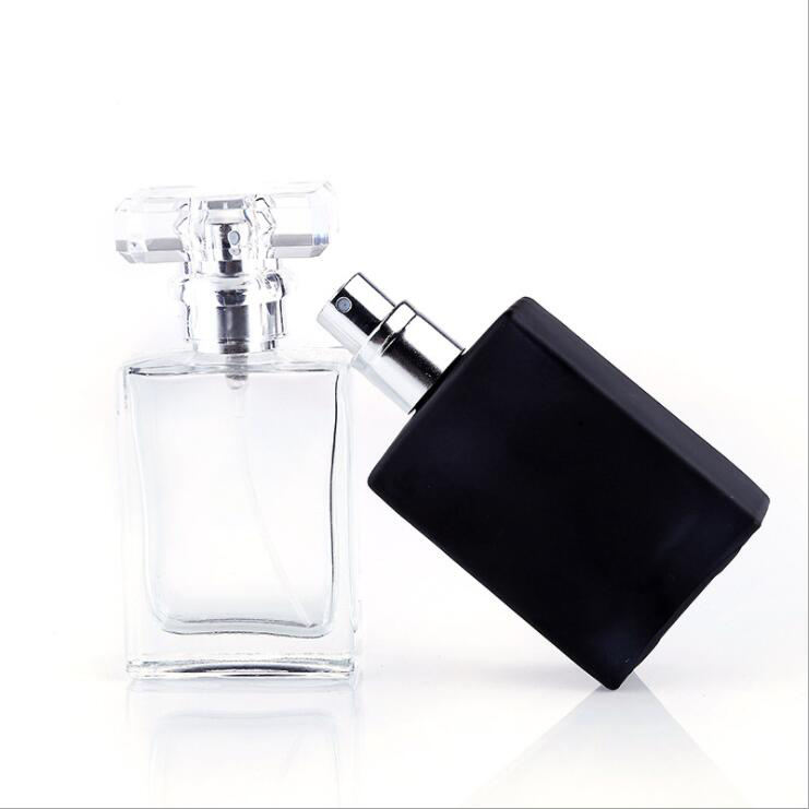 Wholesale Customer Label Perfume Bottle Empty Flacon Frosted Glass China 30 Ml 50 Ml Clear Black