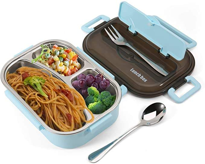 Leak-Proof Bento Lunch Box for Kids & Adults,3-Compartment Square Lunch Containers with Removable Tray - BPA-Free Microwave Safe