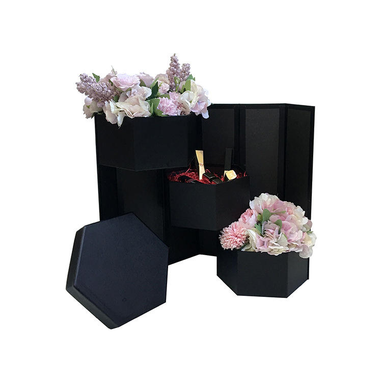 hexagonal favour box packaging flower perfume gift boxes 3 layer logo printed