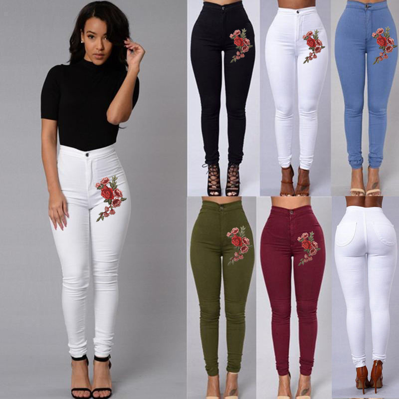 FREE Shipping Fashion Women High Waist Embroidered Skinny Stretch Pencil Long Slim Casual Leggings Jeans
