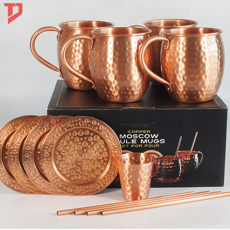 solid copper mug Set Of 4 By B.WEISS 100% Pure Copper +Bonus: 4 copper straws+4 coasters 1 shot mug