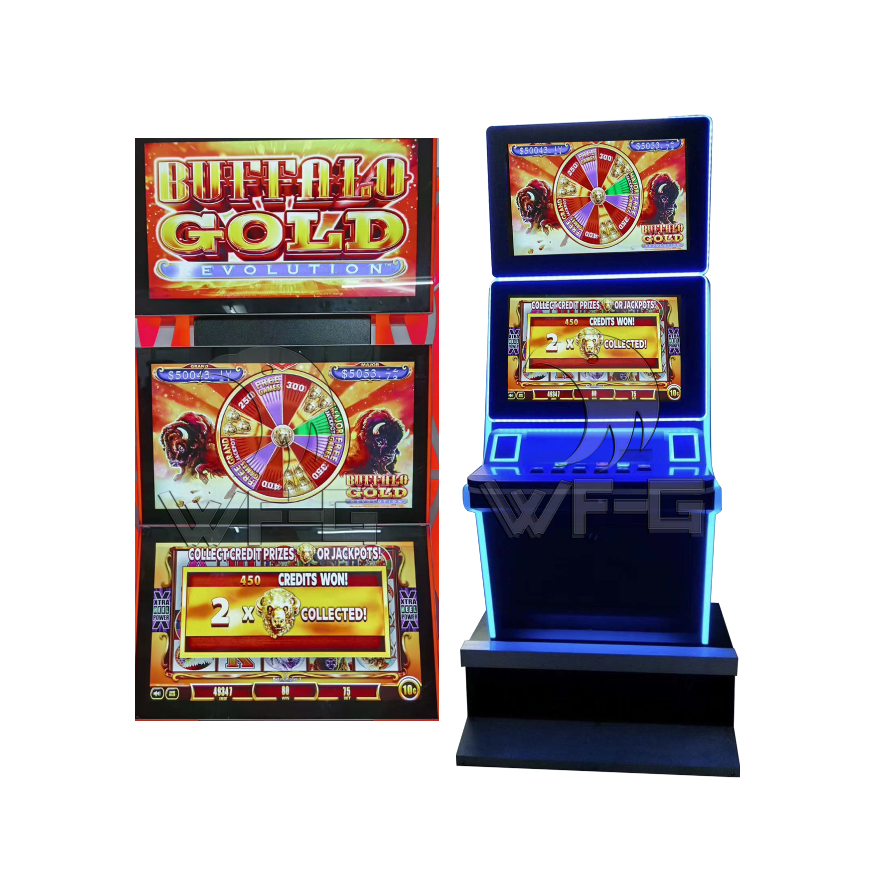 Buffalo Gold Game Mesin Slot Layar Sentuh Video Arkade Ganda dengan Akseptor Tagihan
