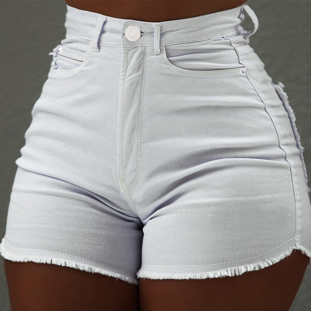 2021 Wholesale Fashion Slim Fit Butt Lifter Unedged Stretch Pants Denim Shorts For Women Short Jeans