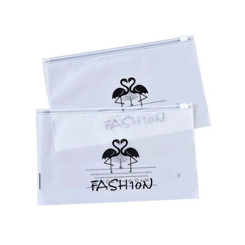 Custom Frosted Biodegradable Ziplock gold logo printed Plastic Packaging Bags For Clothes Underwear