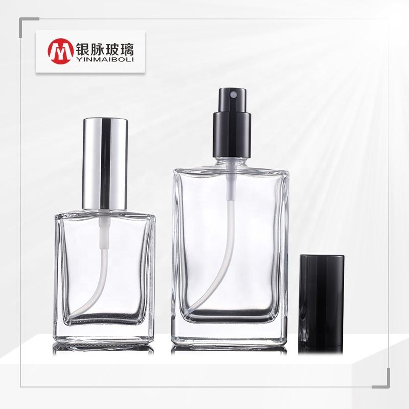 Perfume Spray Bottle [ Glass Perfume Bottle ] Perfumeglassglassglass Pump Bottle Hot Sale 30ml 50ml 100ml Transparent Rectangle Glass Perfume Spray Bottle With Aluminum Pump Cap