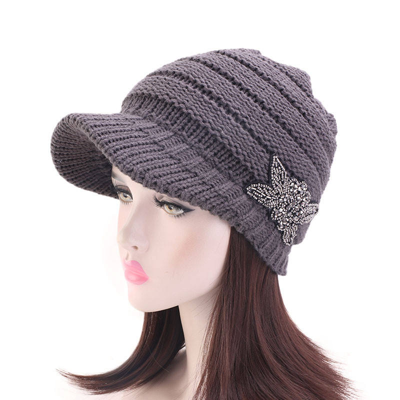 Women Jeweled Visor Brim Chunky Winter Skull Cap Knit Beanie Hat Beaded Flower Fashion Winter Cap MXM-102I