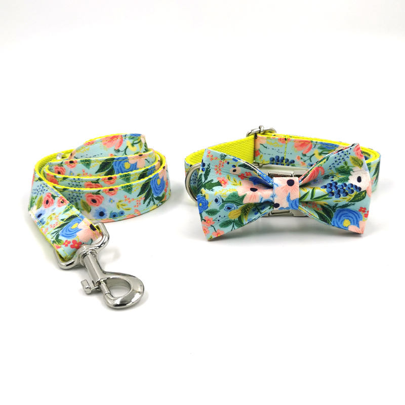 New arrive cute flower patterns beautiful style dog collar pet collars personalized private label collars leash bow ties matched