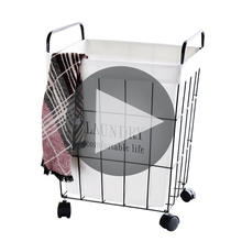 OEM ODM Wholesale Clothes Storage Canvas Laundry Wire Basket for bathroom