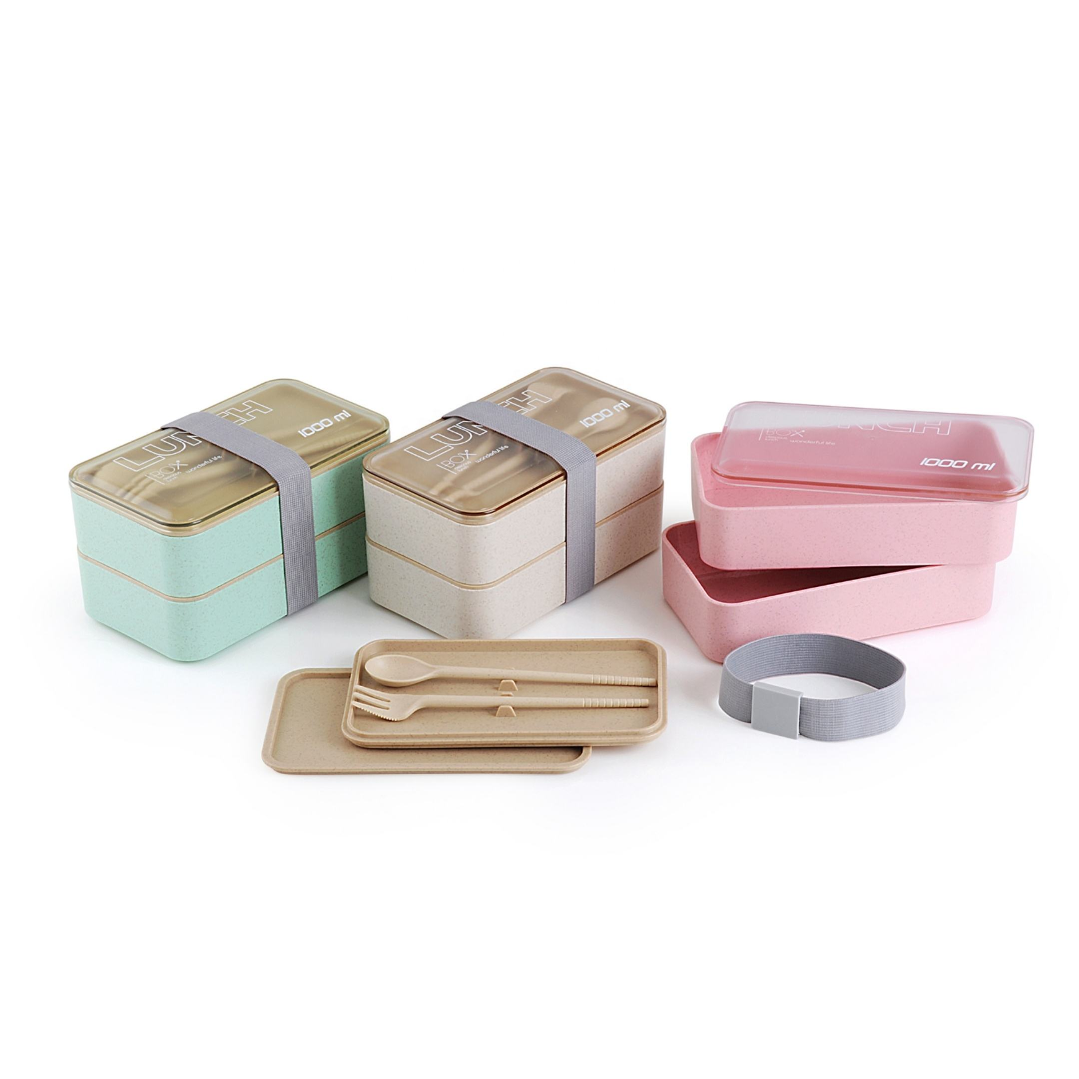 Wheat and straw rectangular flat lid leakproof container plastic bento lunch box