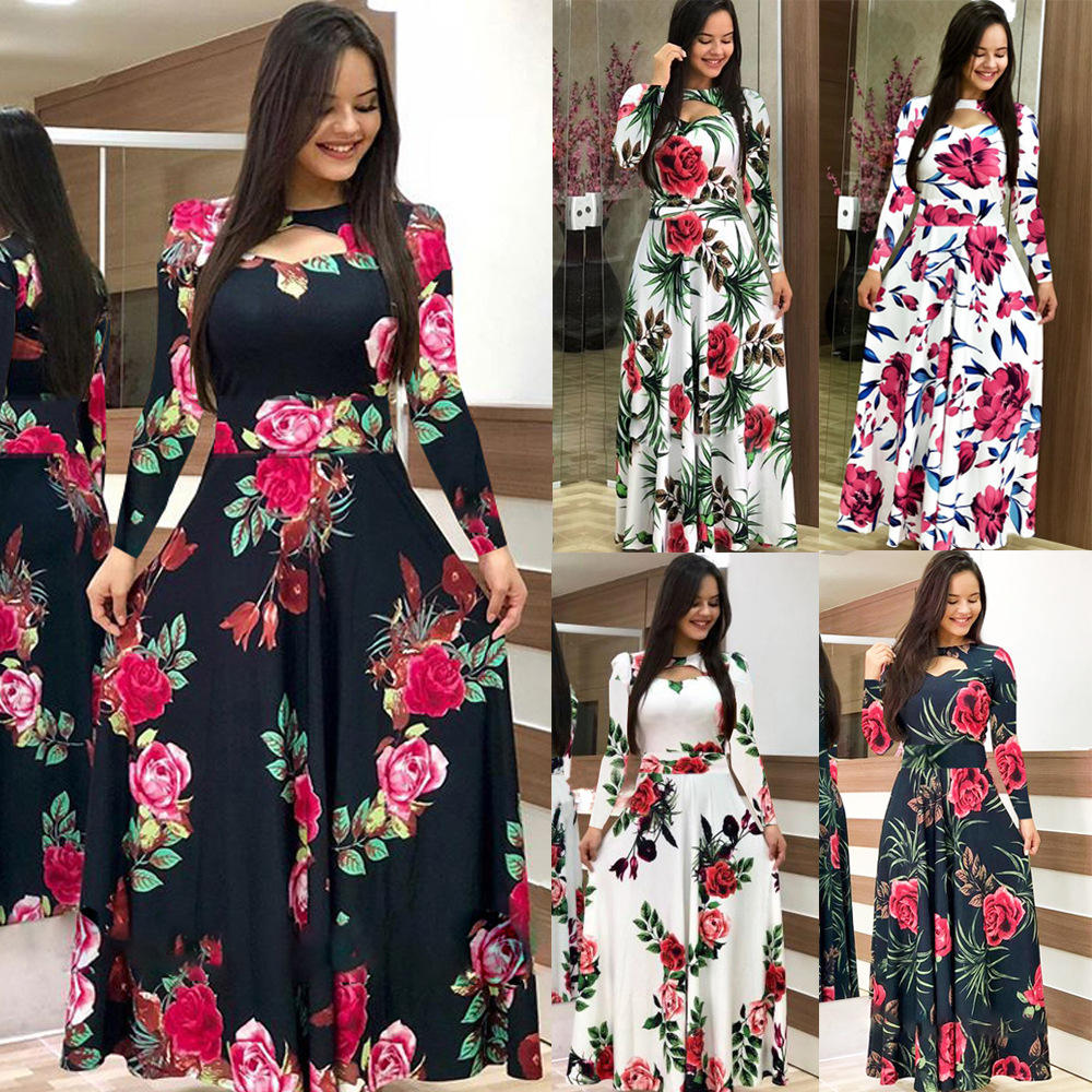 Womens Long sleeve Floral Maxi Dresses Empire Waist Floral Boho Print Pleated Long Dress Casual Elegant Party Sundress