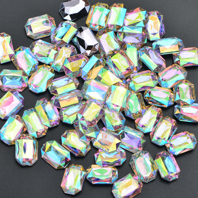 Wholesale Rectangle Crystal Stones Pointback Big Acrylic Crystal AB Rhinestone for Garment Crafts