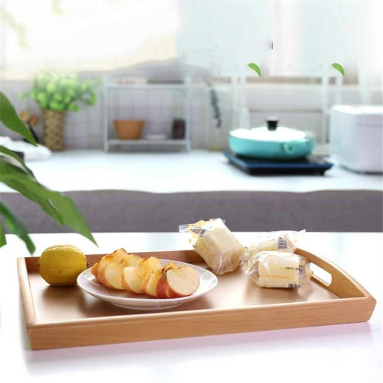 High quality hotel serving tray creative rectangle antique wooden tea serving tray