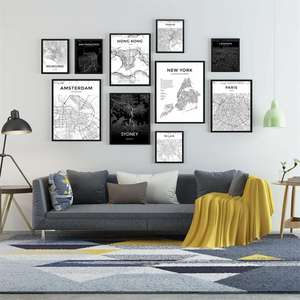 Custom Modern Black and White World City Map London Paris New York Posters Rome City Map Prints Wall Art Canvas Painting