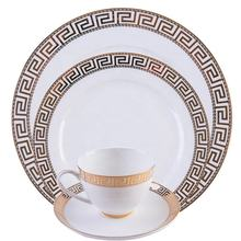 High end bone china royal dinnerware sets luxury dishes gold plates ceramic tableware for business reception