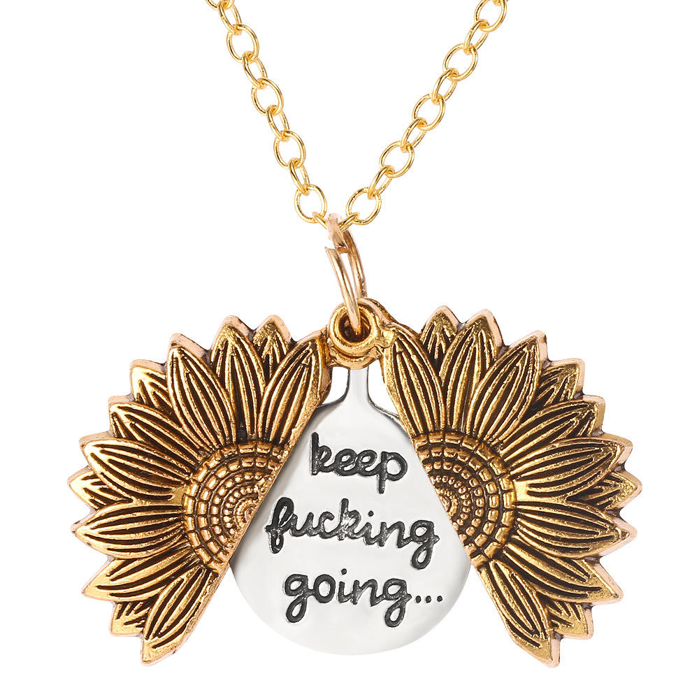 Free sample Metal Engraved Gift Sunflower Expandable Necklace For BelovedCan be opened Double-layer lettering letters N2 -10