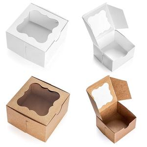 Custom White Bakery Box with Window Eco-Friendly Paper Board Cardboard Gift Packaging Boxes for Pastries Cookies Small Cakes